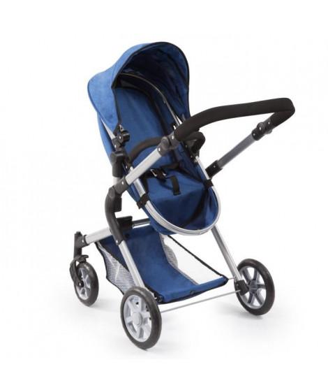BAYER Landau pour poupée Neo Star bleu avec sac a bandouliere et panier d'achat intégré réglable - convertible poussette