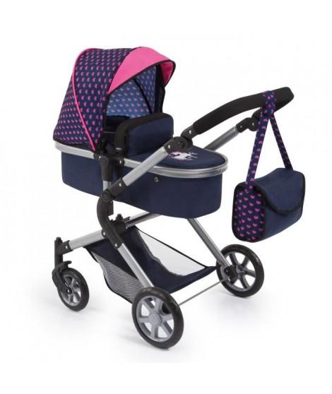 BAYER Landau pour poupée Neo Star licorne bleu et rose avec sac a bandouliere et panier d'achat intégré - convertible poussette