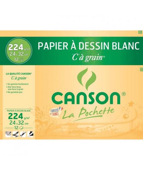 CANSON - Pochette papier dessin C a grain - 24 x 32 cm - 224g - 12 feuilles - Blanc