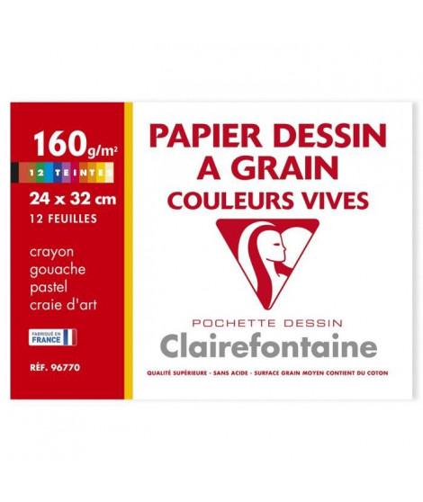 CLAIREFONTAINE - Pochette dessin - 12 feuilles - 24 x 32 cm - 160 g - Rouge