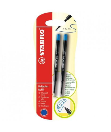 STABILO - lot de 2 recharges stylo bille  - bleu