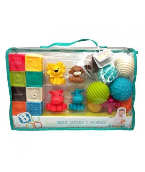 INFANTINO Senso Set de 8 balles souples, 8 cubes sensoriels et 4 animaux arroseurs