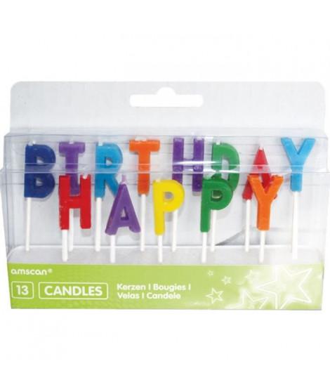 AMSCAN Lot de 13 bougies piques lettres Happy Birthday