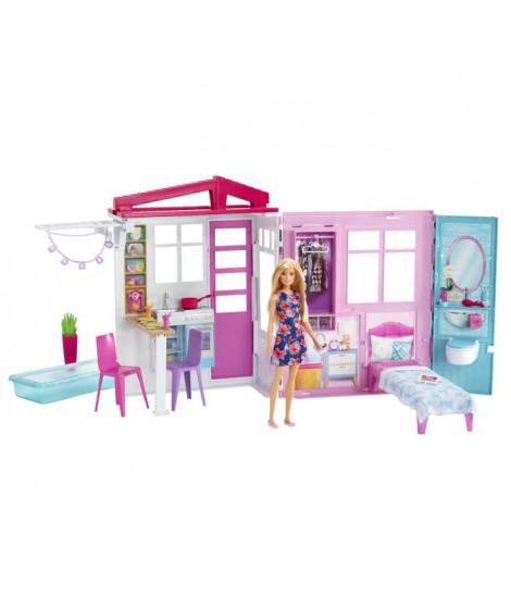 BARBIE - Barbie & Sa Maison a Emporter - Maison de Poupée repliable & transformable - 1 poupée Incluse
