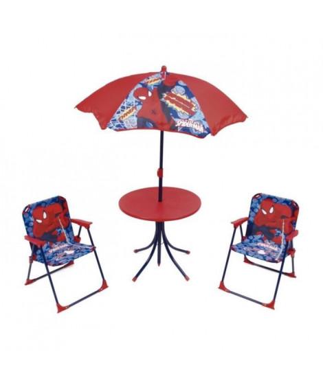 SPIDERMAN Ensemble de jardin / Camping enfant (table, 2 chaises et parasol)