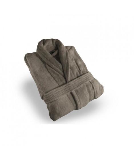 SOLEIL D'OCRE Peignoir éponge Velours - Taille XL - 100% Coton - Taupe