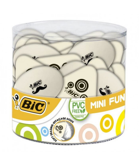 BIC Mini Fun Gommes Blanches - Formes Assorties, Tubo de 36