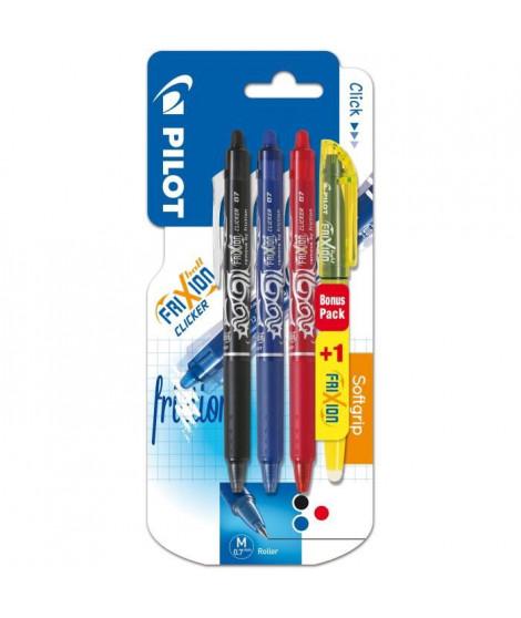 PILOT - Frixion Ball Clicker Moyen - Encre noire / bleue / rouge - x3 + 1  BONUS PACK Frixion Light Jaune