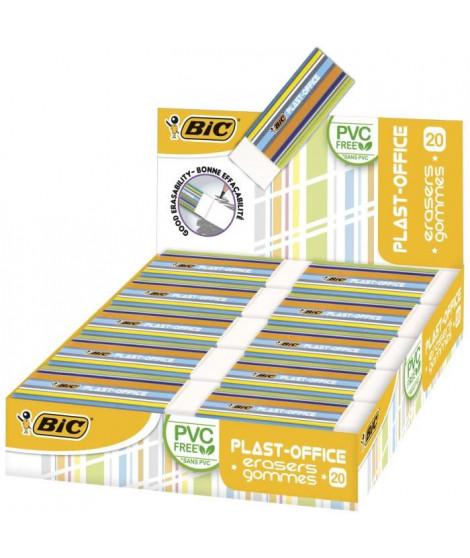 BIC Plast-Office Gommes Blanches - Boîte de 20