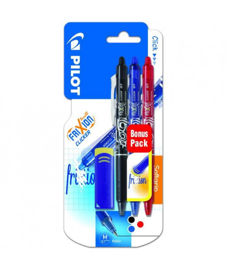 PILOT - Frixion Ball Clicker Moyen - Encre noire / bleue / rouge - x3 + 1 gomme
