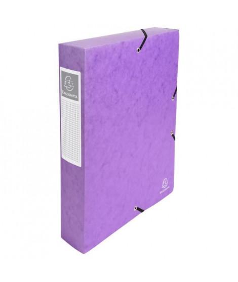 EXACOMPTA - Boite de classement a élastique - Dos 60mm - 24 x 32 - Carte lustrée F.S.C 7/10eme - Couleur violette