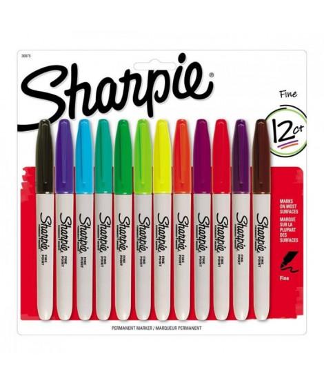 SHARPIE Lot de12 marqueurs permanents - Pointe fine - couleurs standard assorties