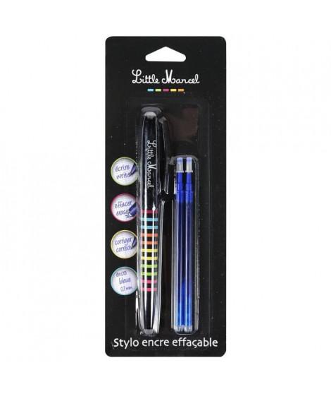 LITTLE MARCEL Stylo Roller + 2 recharges gel effaçable - Bleu - S/Coque