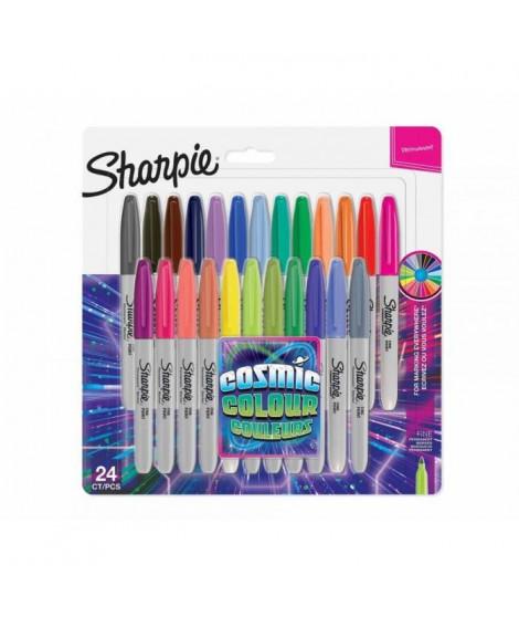 SHARPIE Lot de 24 marqueurs permanents - Pointe fine - Edition limitée - Cosmic couleurs