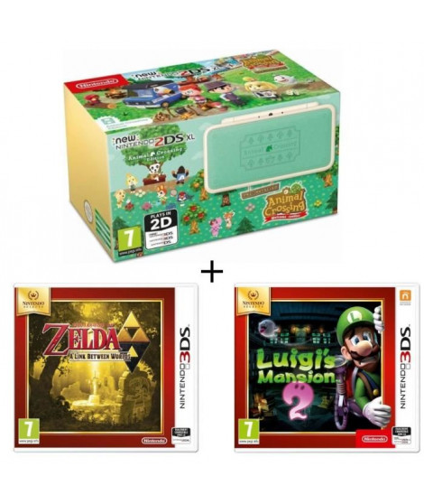 New 2DS XL  Ed Animal Crossing + Luigi's Mansion 2 + The Legend of Zelda : A link Between Wolds