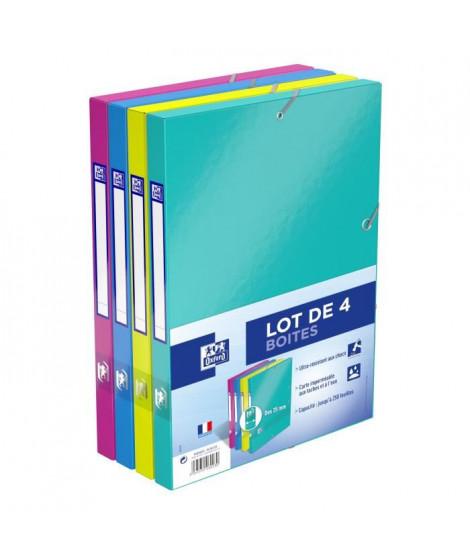 OXFORD Lot de 4 Boîtes de classement Color Life - Dos 25 mm - A4