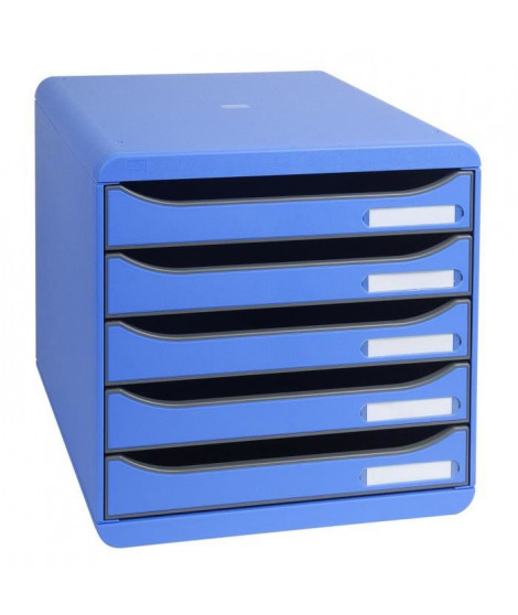 EXACOMPTA Module de classement Big Box - 5 tiroirs - Bleu glacé punchy