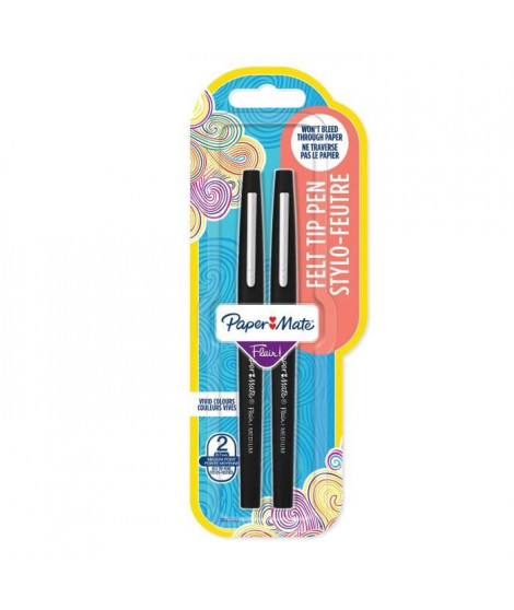 PAPER MATE Lot de 2 stylos Flair - Pointe moyenne - Encre verte