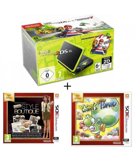 New 2DS XL Noir/Citron Vert + La Nouvelle Maison du Style + Yoshi's New Island