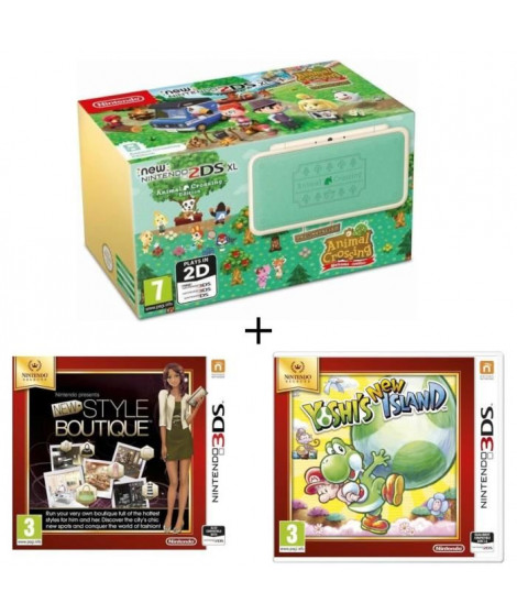 New 2DS XL Ed Animal Crossing + La Nouvelle Maison du Style + Yoshi's New Island