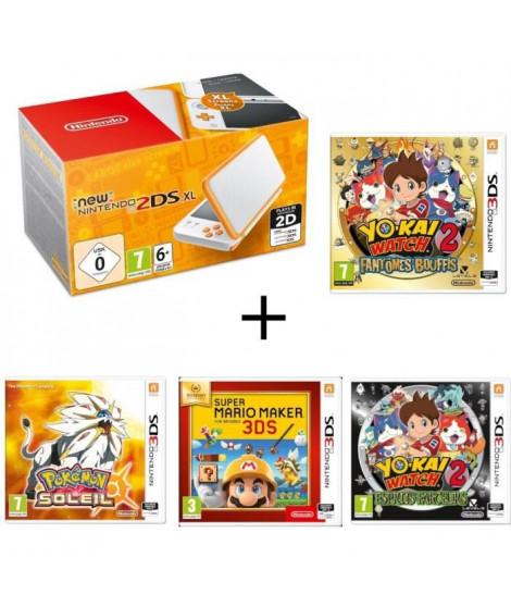 New 2DS XL  + Yo-Kai Watch 2 : Fantômes Bouffis + Pokémon Soleil + Super Mario Maker + Yo-Kai Watch 2 : Esprits Farceurs