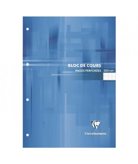 CLAIREFONTAINE Bloc de cours - 210 x 297 mm - 200 pages perforées 4 trous - Seyes papier PEFC 90 g - Couverture vernie