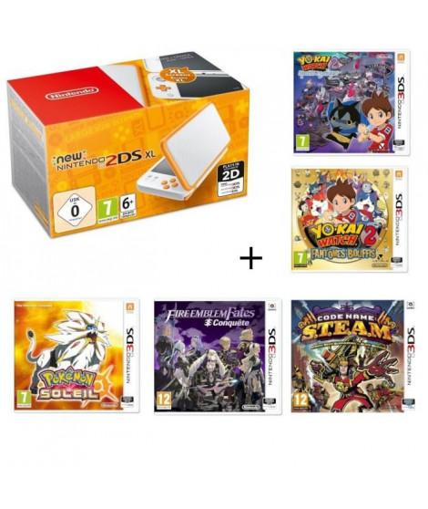 New 2DS XL + Fire Emblem Fates: Conquete + Yo-Kai Watch 2 : Fantômes Bouffis + Spectres Psychiques + Pokémon Soleil + S.T.E.A.M.