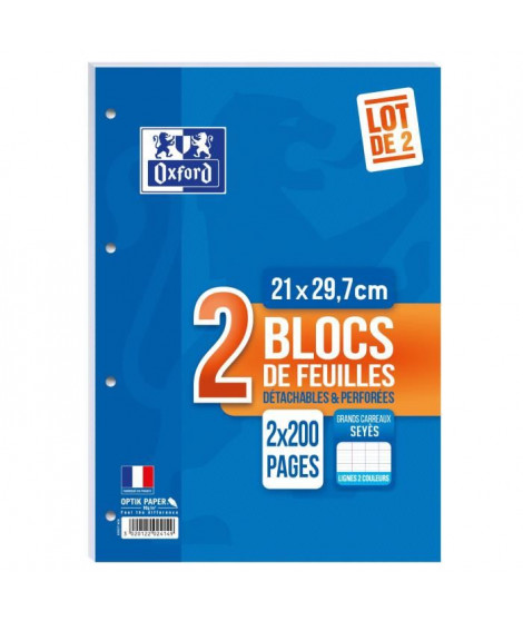 OXFORD Lot de 2 blocs de feuilles collés côte perforés 200 pages seyes - 90g