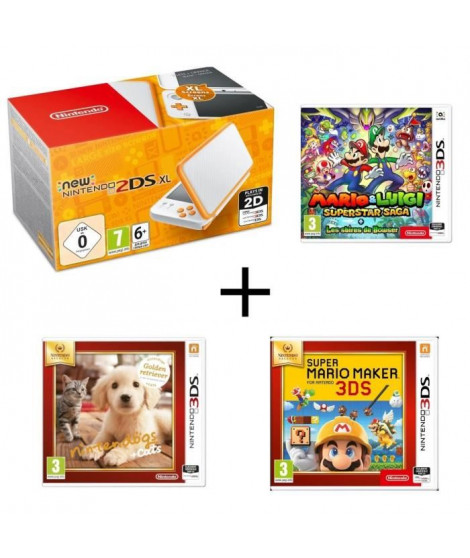 New 2DS XL Blanche Orange + Mario & Luigi : Superstar Saga + Les sbires de Bowser + Super Mario Maker + Nintendogs + Cats Golden