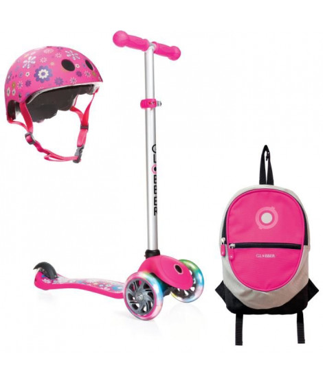 GLOBBER Pack Trottinette 3 roues + Casque + Sac a Dos - Rose