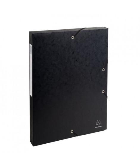 EXACOMPTA - Boite de classement a élastique - Dos 25mm - 24 x 32 - Carte lustrée F.S.C 7/10eme - Noir