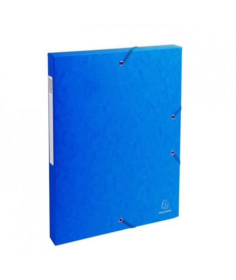 EXACOMPTA - Boite de classement a élastique - Dos 25mm - 24 x 32 - Carte lustrée F.S.C 7/10eme - Bleu