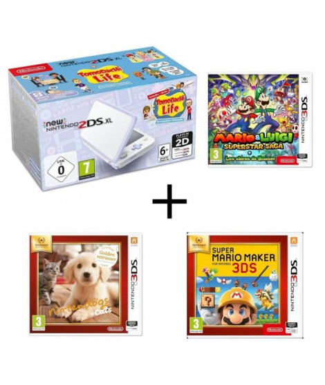 New 2ds XL Blanc lavande + Mario & Luigi : Superstar Saga + Les sbires de Bowser + Super Mario Maker + Nintendogs + Cats Golden