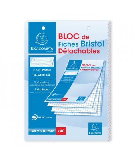 EXACOMPTA Bloc 40 fiches bristol blanches perforées 148 x 210 mm - 5 x 5 PEFC 205 g - Couverture enveloppée Carte 240 g