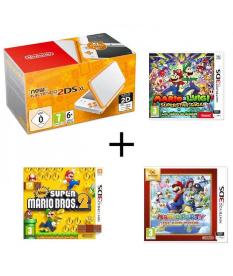 New 2DS XL Blanche Orange + Mario & Luigi : Superstar Saga + Les sbires de Bowser + Mario Party Island Tour + New Super Mario…