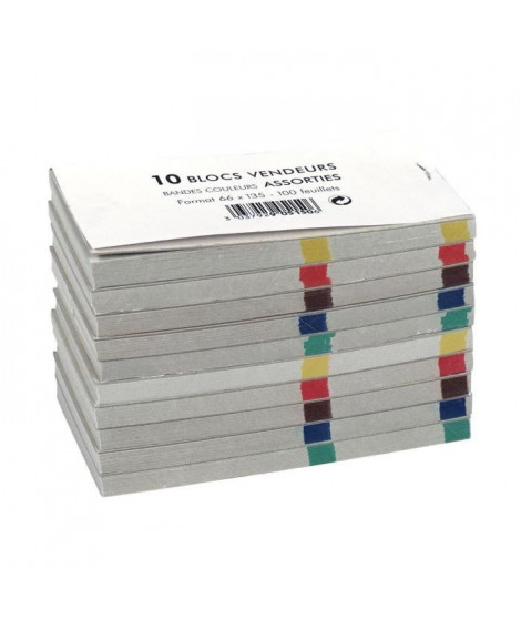 EXACOMPTA Lot de 10 Blocs note vendeur double numérotation - 66 x 135 mm - 100 feuilles - Papier Uni 50 g - Avec encart