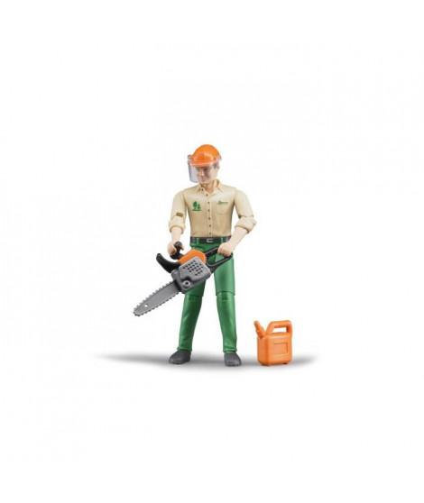 BRUDER - Figurine bucheron avec accessoires forestiers - 10,7 cm