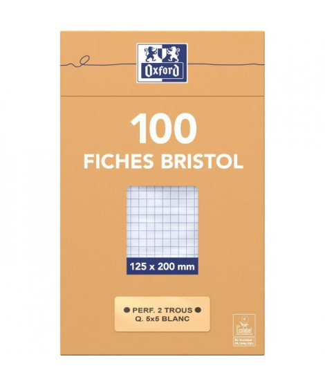 OXFORD 100 feuilles bristol - Petits carreaux - Blanc - 20 cm x 12,5 cm x 2,6 cm