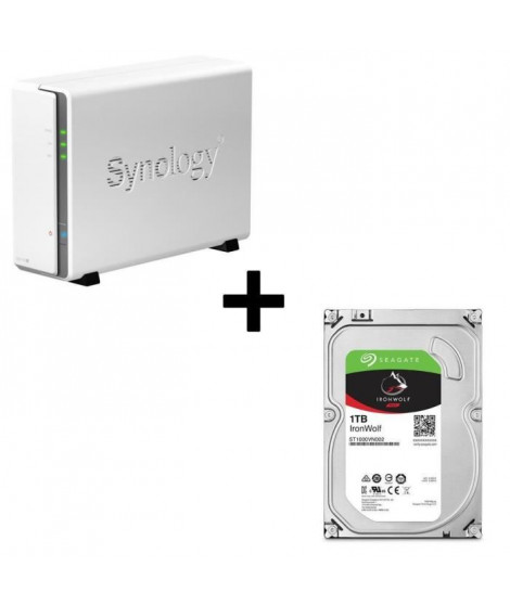 """Pack Synology Serveur NAS DiskStation DS115j + 1 Disque Dur Seagate NAS HDD Iron Wolf 1To 3,5"""" ST1000VN002"""