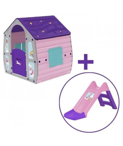 Pack Maison pour enfant + Toboggan Licorne