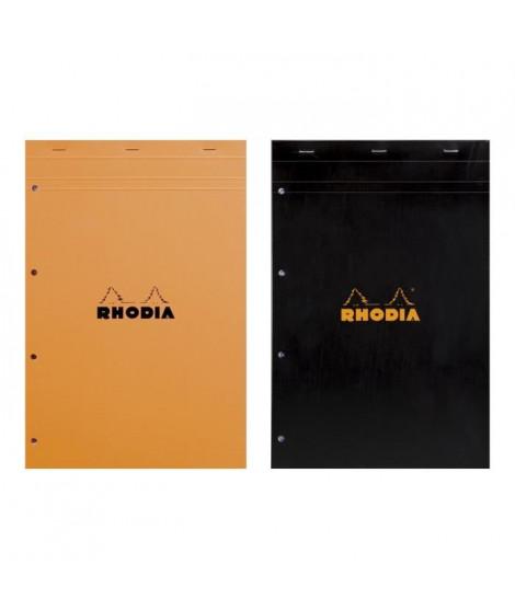 RHODIA - Bloc perforé - 21 x 31,8 - 160 pages 5 x 5 - Papier Velin Surfin P.E.F.C 80G - 2 couleurs aléatoires