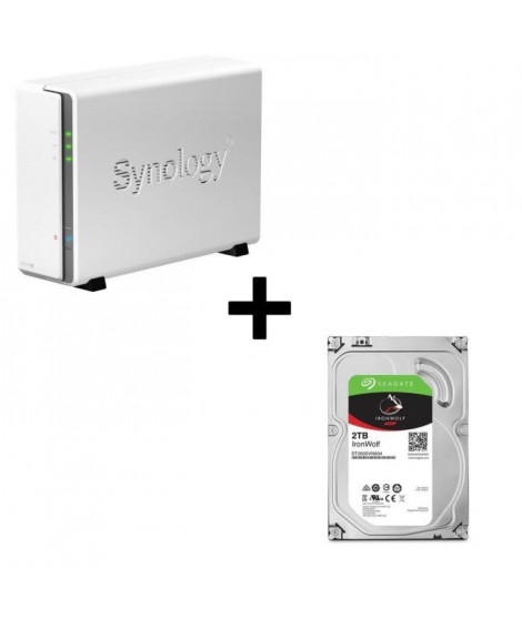 """Pack Synology Serveur NAS DiskStation DS115j + 1 Disque Dur Seagate NAS HDD Iron Wolf 2To 3,5"""" ST2000VN004"""