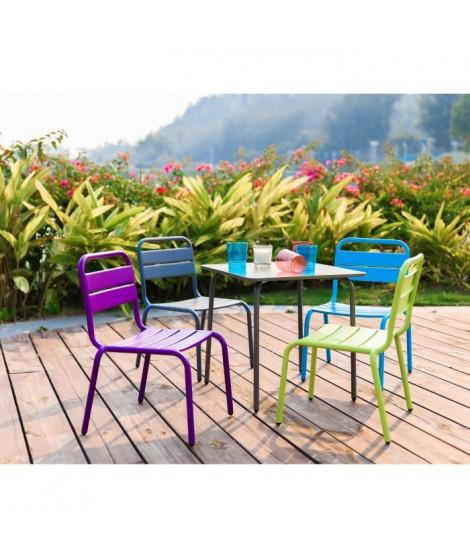 Ensemble table de jardin et 4 chaises en acier pour enfant