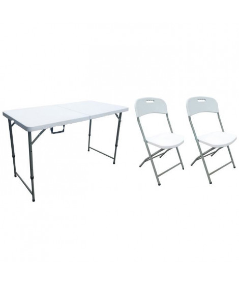 Table pliante 120 cm 4 pers et 1 Lot de 2 chaises pliantes
