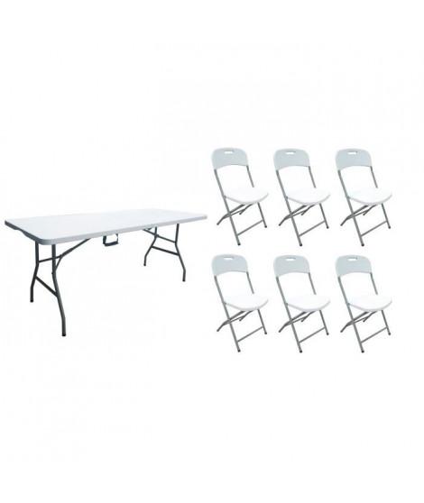 Table pliante 180 cm 8 pers et 3 Lots de 2 chaises pliantes