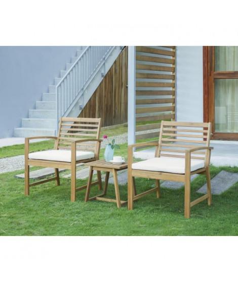 FINLANDEK - Salon de jardin table + 2 fauteuils en acacia - Écru - LOMA