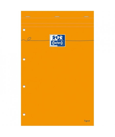 OXFORD Bloc-Notes agrafé - 32 cm x 21 cm x 0,7 cm - 160 pages - 80g - Orange