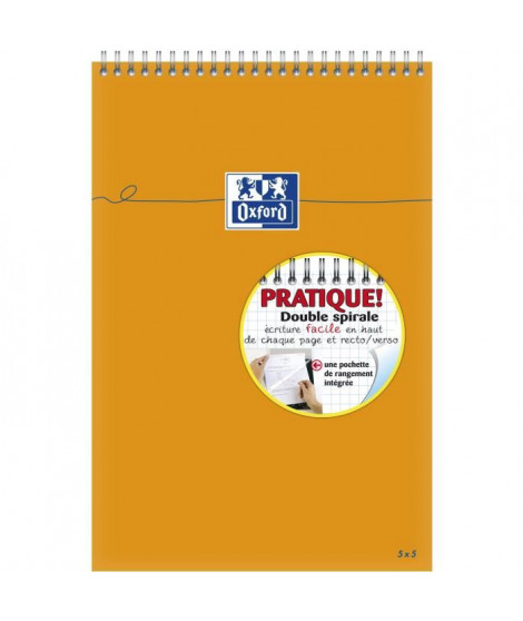 OXFORD Bloc-Notes reliure intégrale -31,5 cm x 21 cm x 0,9 cm - Petits carreaux - 160 pages - 80g