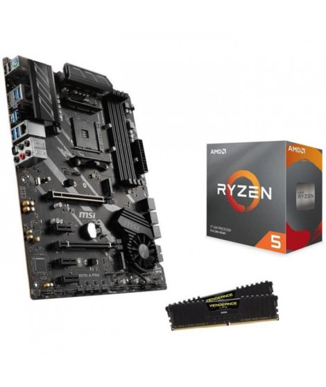 Pack AMD Ryzen 5 3600 Wraith Stealth cooler + MSI X570-A PRO + 16Go (2x8) DDR4 3000MHz