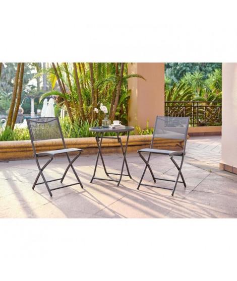 FINLANDEK - Ensemble salon de jardin 2 places - Table ronde pliable plateau verre trempé chaises pliantes acier - Gris anthra…